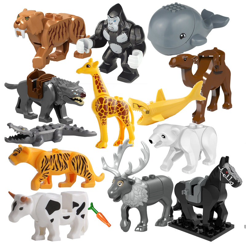 Animal Series Model Figures Building Blocks Tiger Shark Crocodile Kids Educational Toys For Children Gift Compatible With Blocks