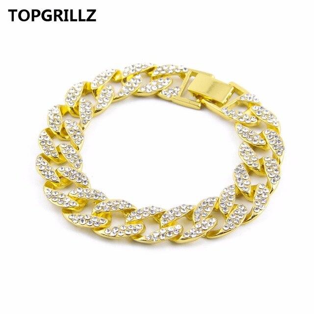 TOPGRILLZ Men s Luxury Rhinestone Fashion Bracelets   Bangles High Quality  Gold Color Iced Out Miami Cuban 2478dd12629b