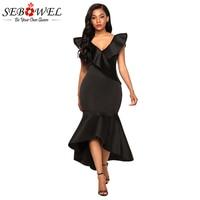 Sebowel Ruffled Mermaid Maxi Party Dress Black Red Sleeveless V Neck Long Dresses Women Sexy Ruffles
