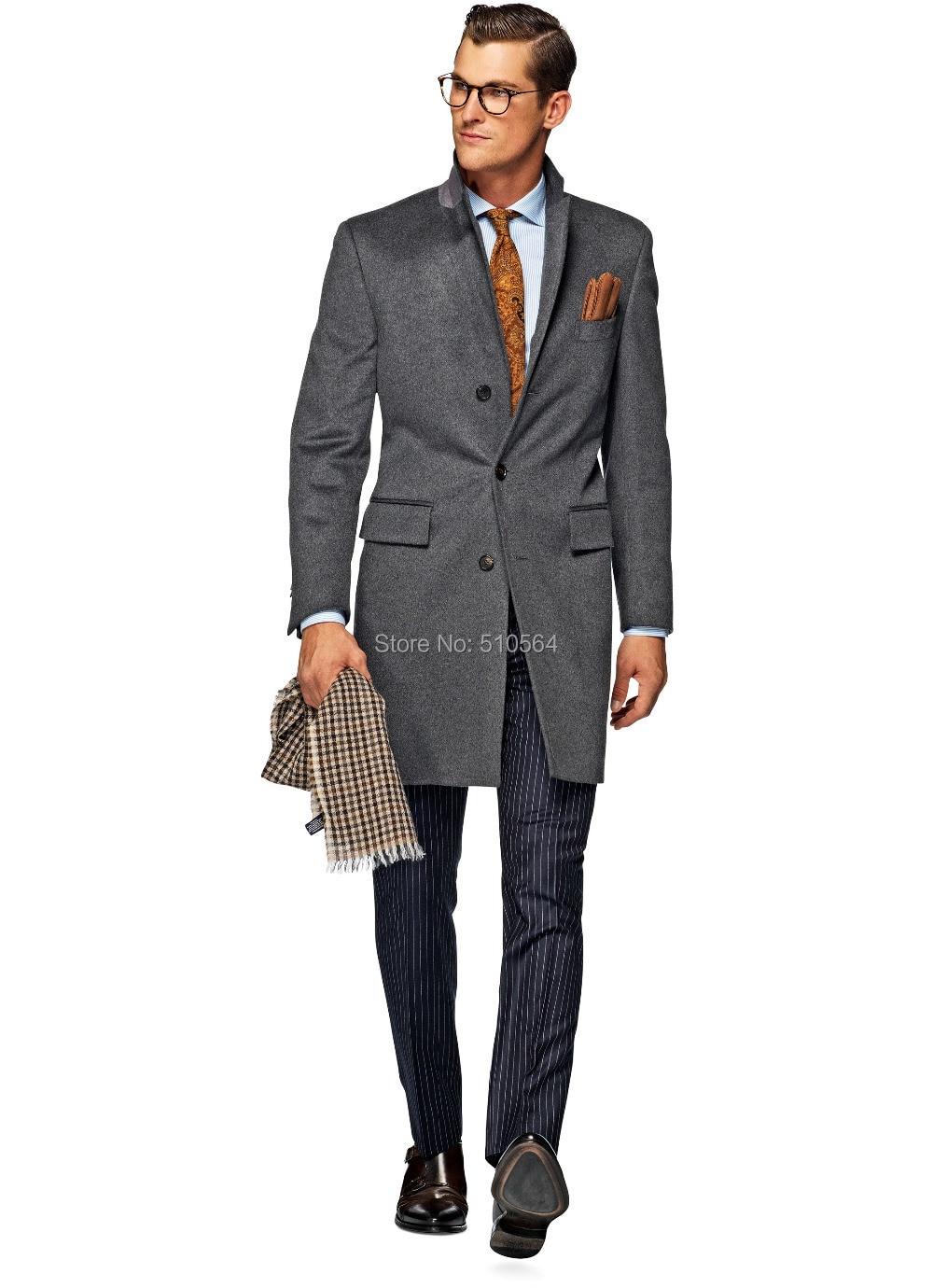 Fit Cachemire Veste Hommes Gratuite Laine Slim Casual Plus Manteau Made Gris Livraison Custom pMVSUzq