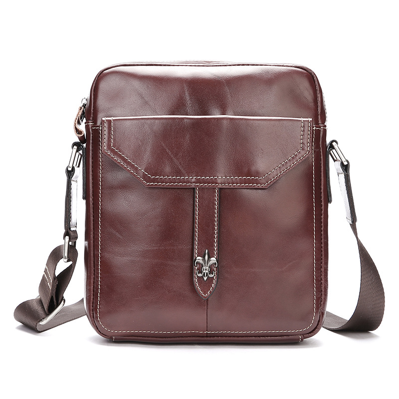 New Oil Wax Genuine Leather Messenger Bags Male Travel Business Crossbody Shoulder Bag for Man Casual Thread Flap Poket Hand Bag