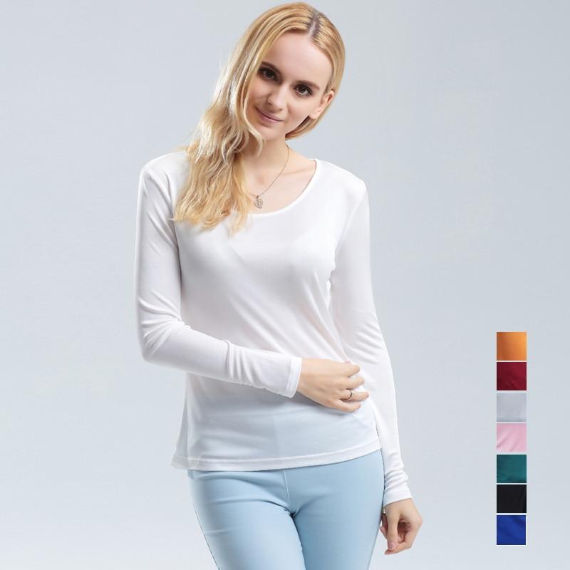 Kvinder T-shirt 100% Ægte Silke Basic O-hals Langærmet - Dametøj - Foto 6
