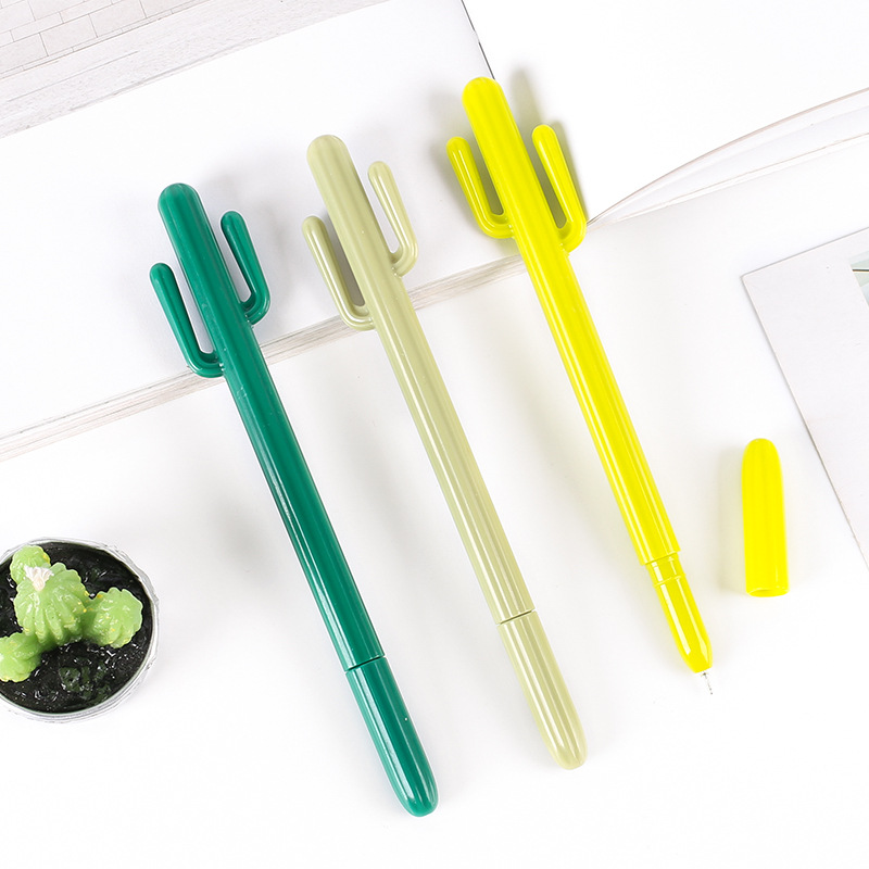 X42 3X Fresh Design Cactus Gel Pen School Office Supply Student Stationery Writing Signing Tool Creative Soft Handle Black Ink