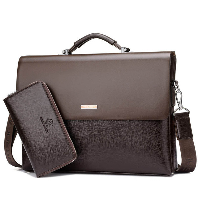 New Arrival Brand Business Men Briefcase PU Leather Laptop Briefcase Bag Male Shoulder Bag High Quality Retro Tote Men's Bag