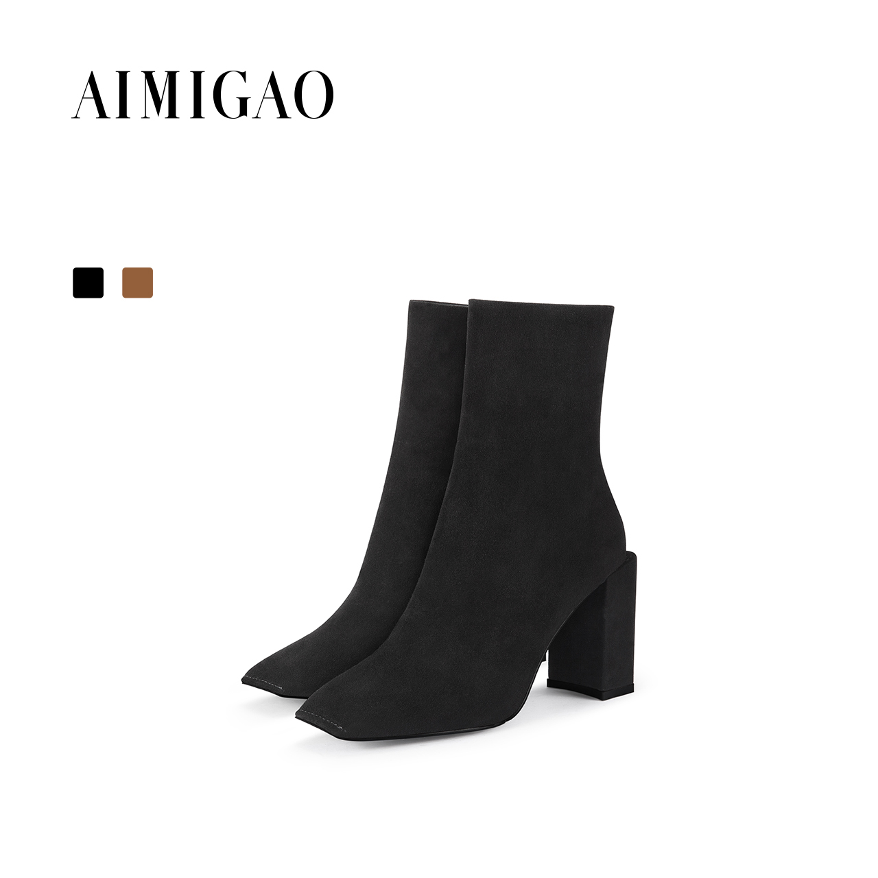 AIMIGAO suede leather fashion women high heel ankle boots side zipper ankle boots para mulheres black 2017 autumn winter new цена и фото