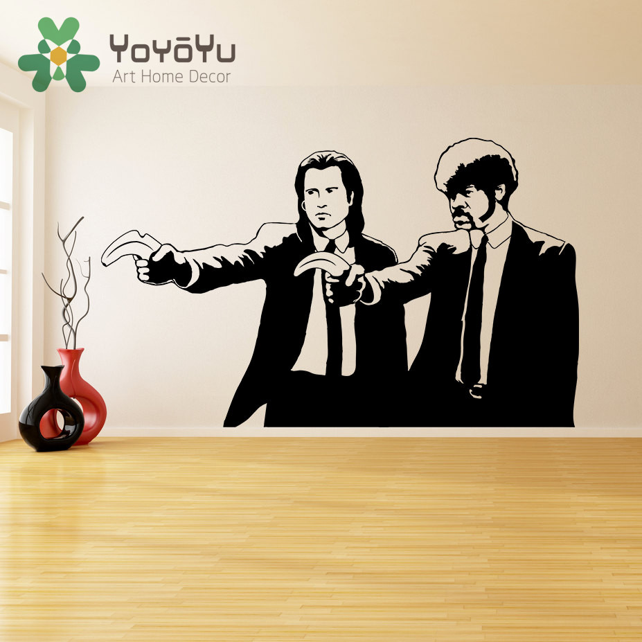 compare prices on banksy wall vinyl online shopping buy low price banksy vinyl wall decal pulp fiction graffiti guys with banana pistols street sticker art design home