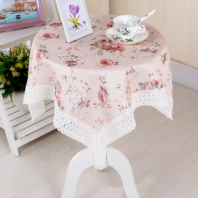 Lovely Hot 1PC European Style Square 80*80cm Flower Lace Tablecloth Cover For Small  Tea Table