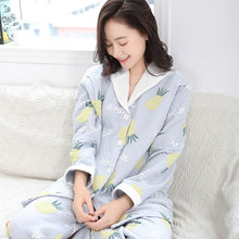 dd538188bd Autumn And Winter New Cotton Thickening Month Clothes Long Pregnant Women  Quilted Breastfeeding Pajamas A123