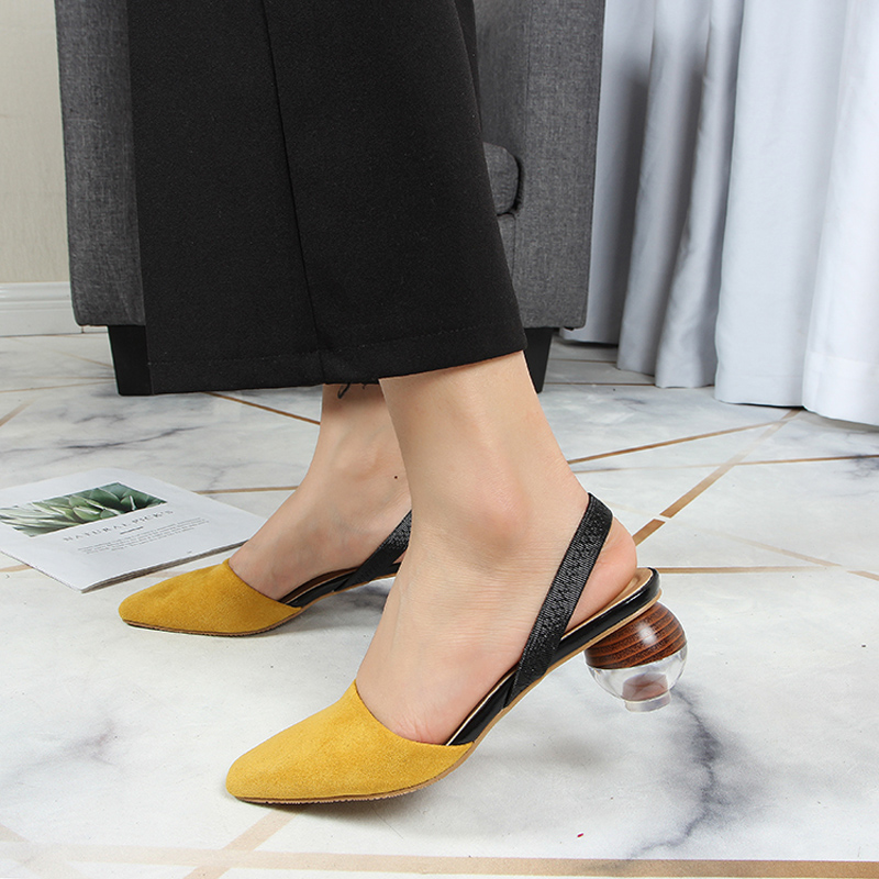 Back strap Sandals Woman Shallow strange heels Slides closed toe Shoes Women Casual Ladies Sandalias mujer black yellow whiteBack strap Sandals Woman Shallow strange heels Slides closed toe Shoes Women Casual Ladies Sandalias mujer black yellow white