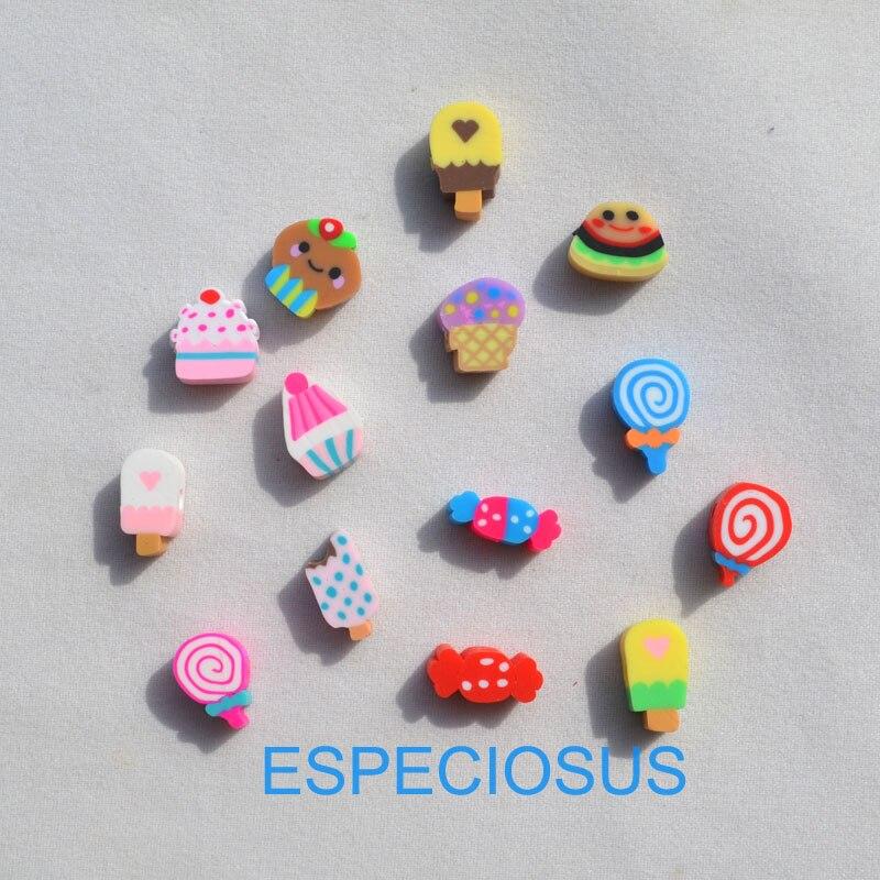 50 pçs diy acessórios de jóias contas de argila de polímero dos desenhos animados sorvete mix design espaçador mix cor pulseira departamento fatias