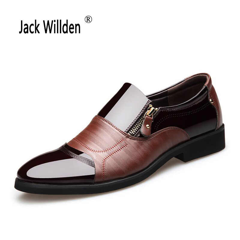 bba908ef77c Jack Willden Men Patent Leather Oxford Shoes Men Pointed Toe Business Dress  Shoes Luxury Brand Formal