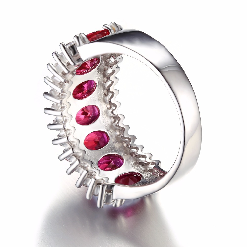 Fine Jewelry Womens Red Ruby Sterling Silver Cocktail Ring mOSFAdk7tF