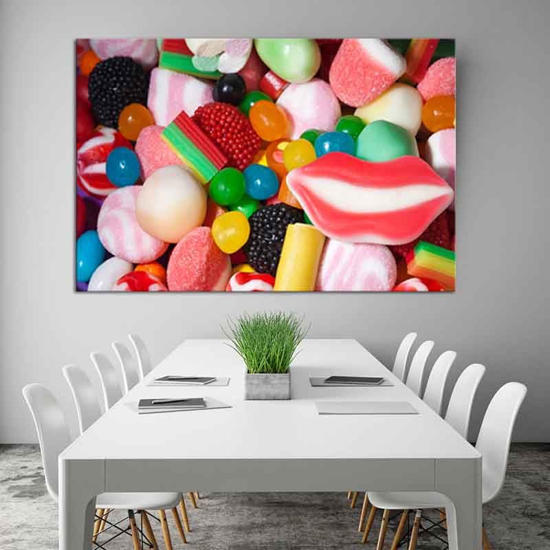 1 Pcs Colorful Soft Sweets Canvas Print Painting Girl Room Decoration Cute style Red Lips Wall Picture for Living Room Decor
