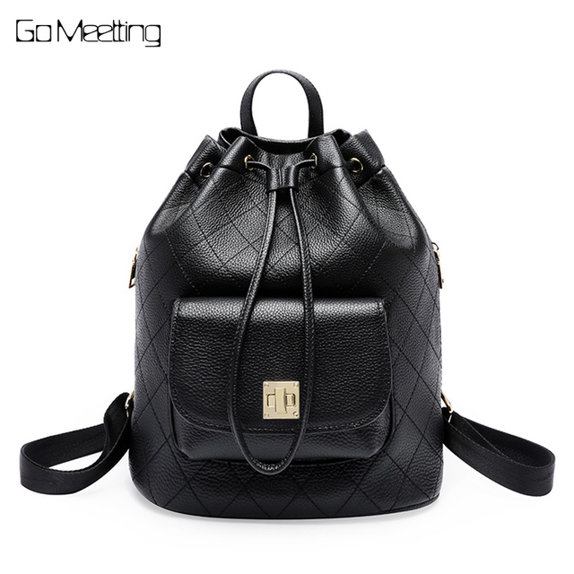 44d20d3fc1c9 Simple Style Backpack Women Genuine Leather Backpacks For Teenage Girls  School Bags Fashion Diamond Lattice Black Shoulder Bag