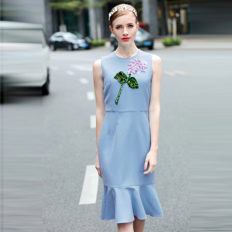 2017 New Pattern D Home Dress Blue Vest Printing Embroidery Flower Paillette Fish Tail A Word In Longuette