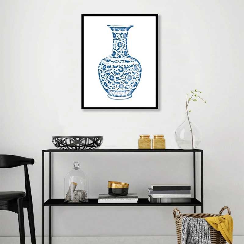 Niebieski i biały zbiornik na imbir plakaty na płótnie Chinoiserie wazony płótno artystyczne obrazy dekoracje ścienne do salonu Home Decor