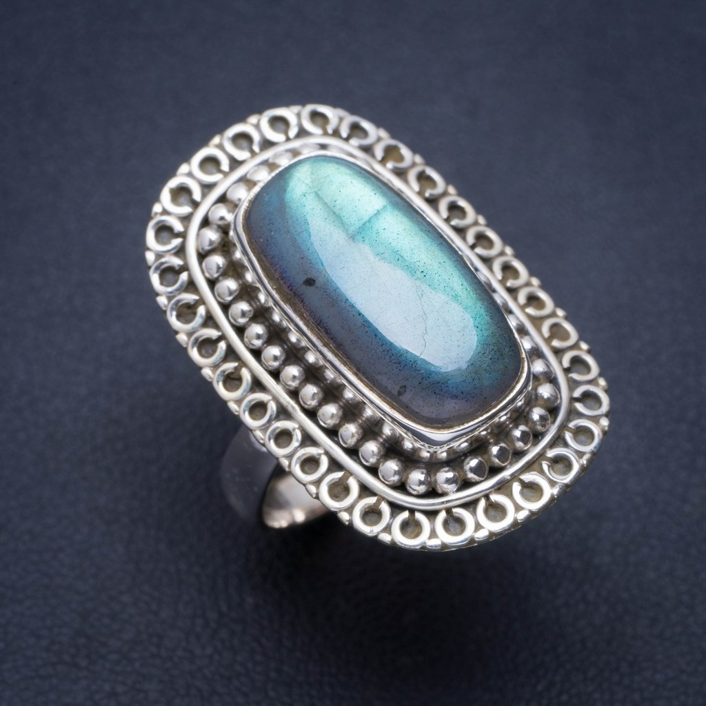 Natural Blue Fire Labradorite Handmade Unique 925 Sterling Silver Ring 7.25 A1275