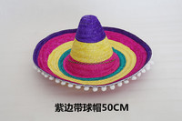 Children's Adult Large Mexican Hat Role Playing Mexican Sun Cap New Arrival Halloween Make Up Hat with Pompoms B-5133