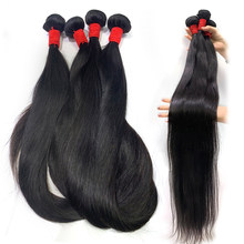 Queenlife 30 inch 32 34 36 38 40 inch Bundles Silky Straight Peruvian Human Hair Bundles Remy hair weave Long hair Extensions(China)