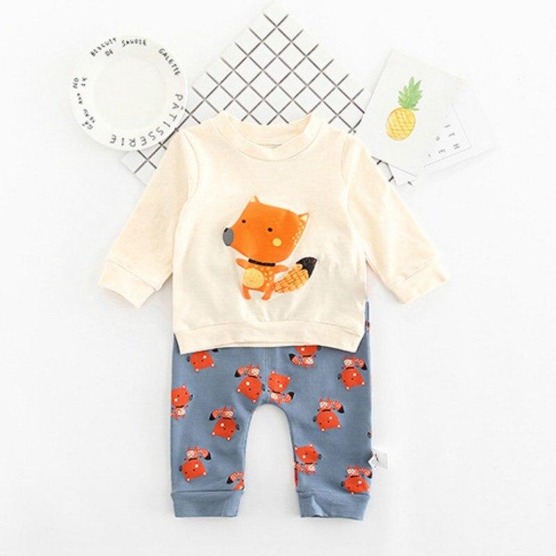Осенняя и зимняя одежда для мальчиков и девочек детская Костюмы 2018 Для мальчиков ясельного возраста комплекты одежды для девочек лиса хара...
