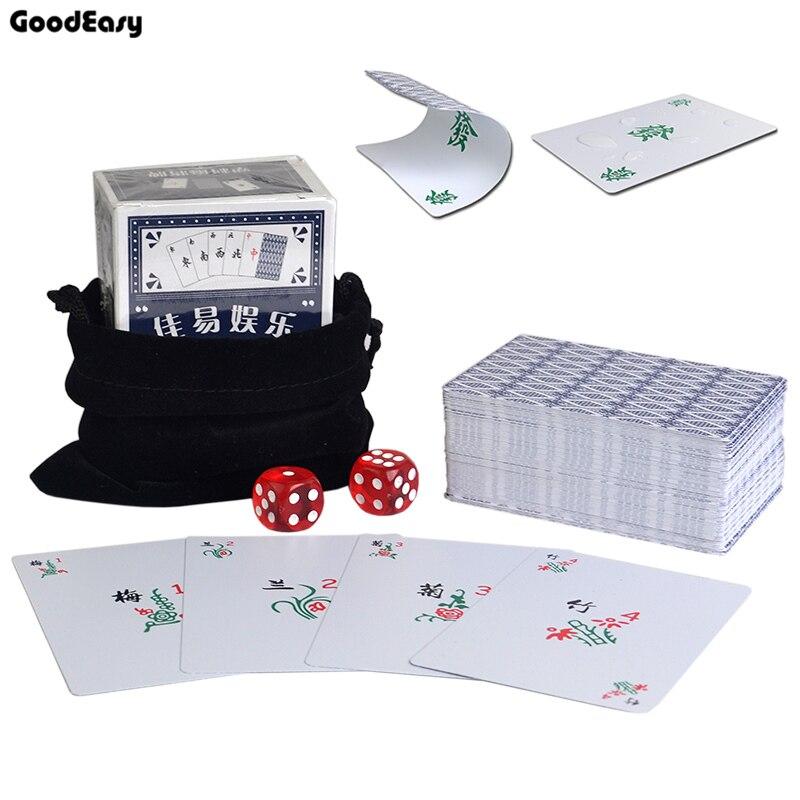 Portátil à prova d' água de Plástico conjunto de Mahjong jogo de cartas com 2 corta Acrílico saco de Flanela Viagem Mahjong de Poker Cartão