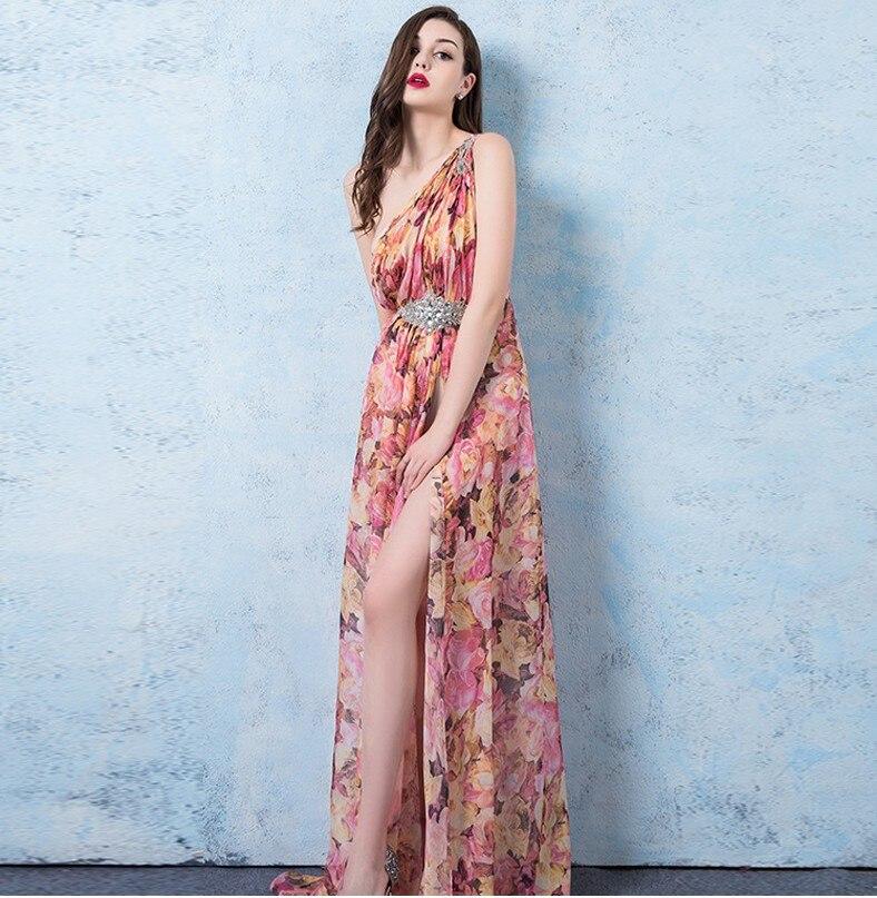 Nouveau sexy boho vacances imprimé floral robes longues split une épaule robe d'été plage maxi robe club robe de soirée vestidos