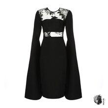 Зимнее новое длинное расклешенное черное Бандажное платье женские сетчатые вечерние платья с круглым вырезом