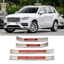 Car styling accessories For Volvo XC90 2015-2019 External stainless steel Car Welcome Pedal Door Sill Scuff Cover Trim 4pcs