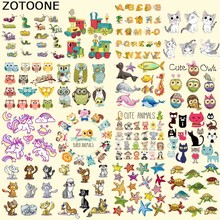 ZOTOONE Animal Patch Set Iron on Transfer Owl Dog Cat Unicorn Patches for Kids Clothes DIY Applique Heat Vinyl Stickers