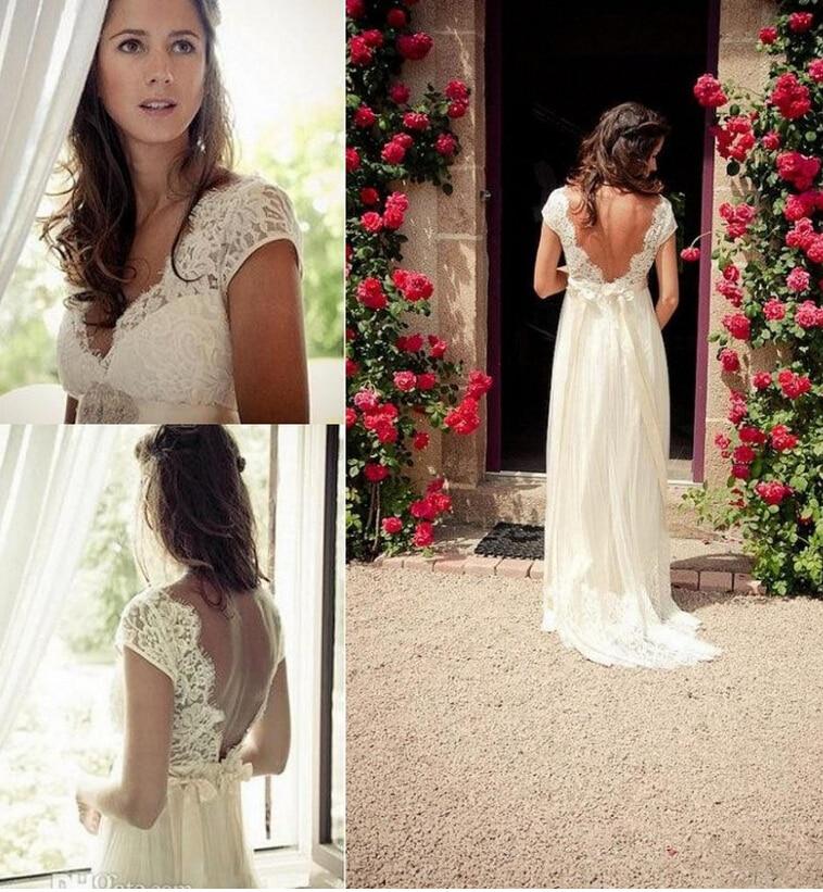 sexy v neck backless lace vintage wedding dresses short cap sleeve 2016 summer beach designer plus