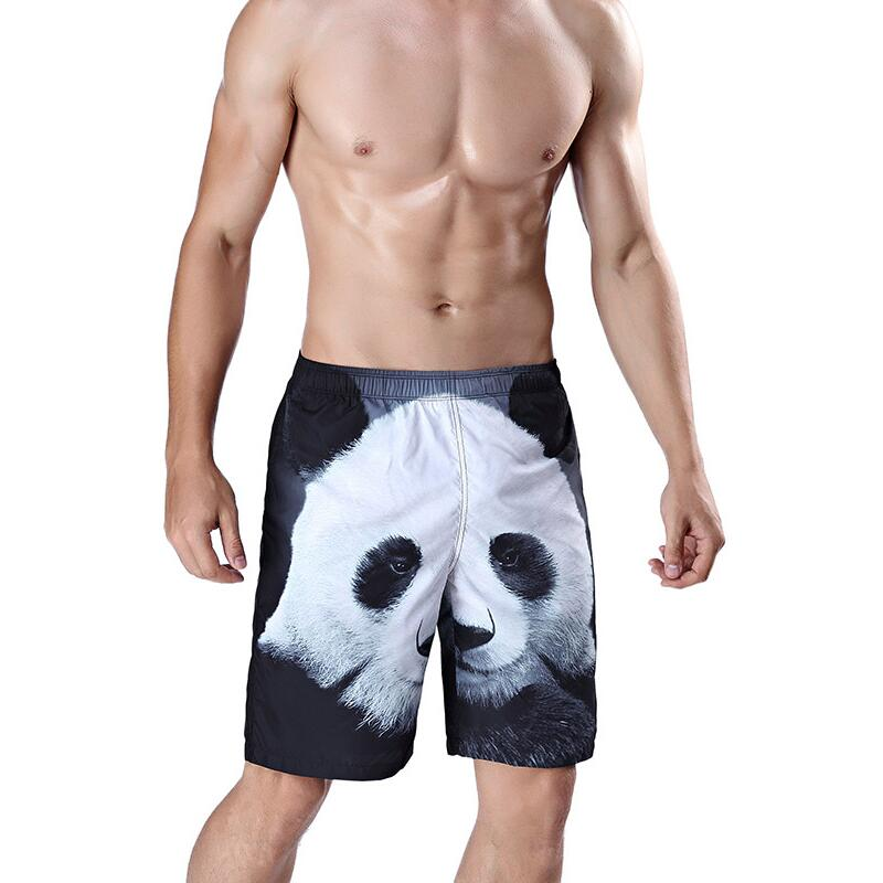 Summer Newest Mens Beach Pants 3D Panda Head Printing Board Shorts Mens Surfing Shorts Man Plus Size Swim Trunks