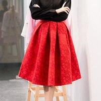 Faldas 2017 الصيف نمط جديد خمر تنورة عالية الخصر ارتداء ميدي saias التنانير النسائية الأزياء الأمريكية jupe فام