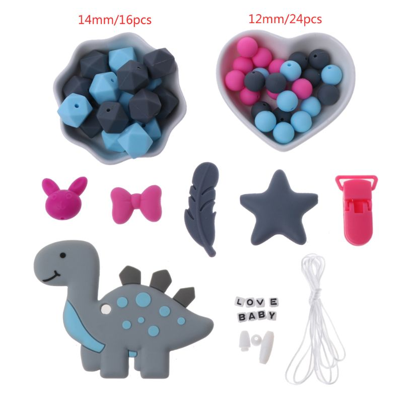 Baby Silicone Beads Dinosaur Teether Pacifier Clip DIY Nursing Teething Necklace