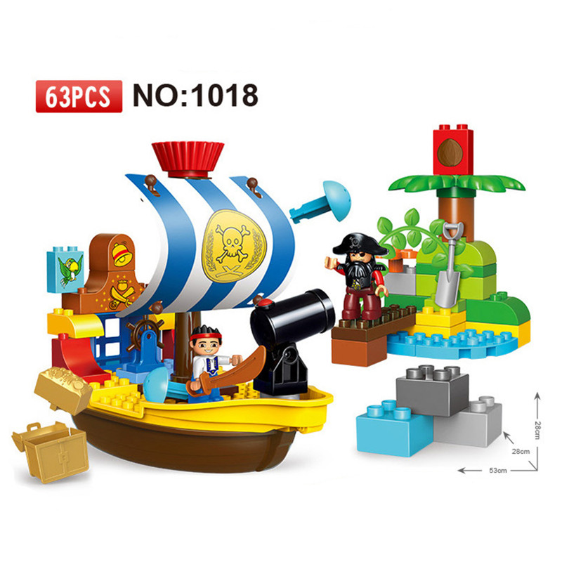 63pcs Diy Big Size The Jake's Pirate Ship Bucky Set Building Blocks Compatible With legoing Duploe Bricks Toys For Children gift red pirate ship blocks compatible legoingly war pirate king character action diy bricks cannon building blocks toys for children