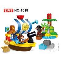 63pcs Diy Big Size The Jake's Pirate Ship Bucky Set Building Duploe Blocks Bricks Educational Toys For Kids Children gift