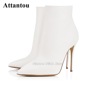 Mat Leather Thin High Heels Mid Boots Side Zipper Pointed Toe Leather Stilettos Heeled Shoes Woman Winter Short Boots
