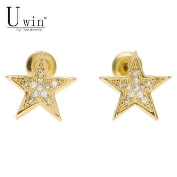 b0cccd909 Men Women Earring Copper Nickel Cz Rhinestone Crystal Gold Square Shape  Stud Earrings Hip hop Jewelry 12.5mmx12.5mm. 20%off