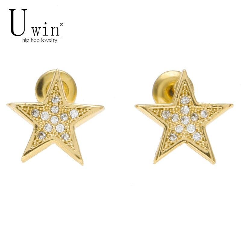 UWIN Men Women Fashion Stard Shine Zircon Rhinestone Crystal Gold Silver Stud Earrings Hip hop Jewelry