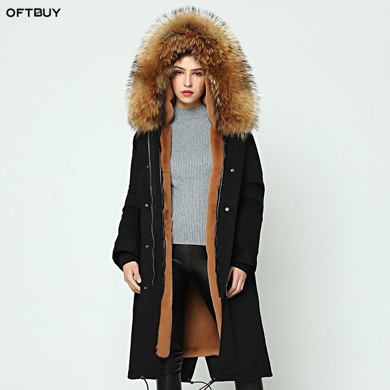 OFTBUY parka 2019 nouvelle veste d'hiver femmes parkas manteau de fourrure véritable naturel raton laveur col de fourrure épais chaud long sur le genou