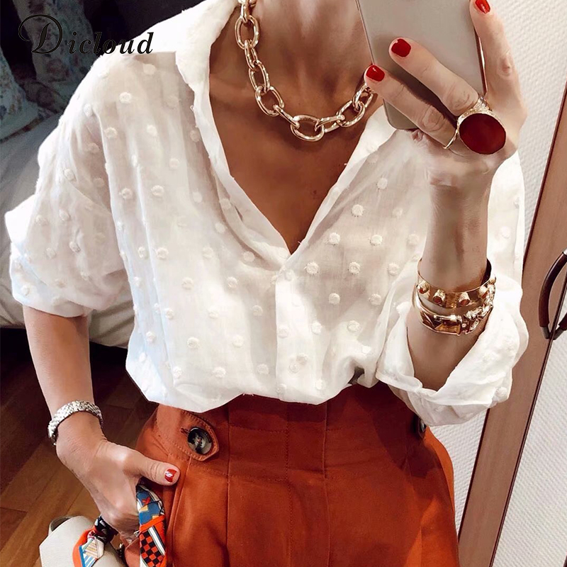 DICLOUD Sexy Fashion Woman White   Blouses   2019 Long Sleeve Beach Tunic Elegant Dot   Shirt   Casual Chiffon   Blouse   Minimalist Female