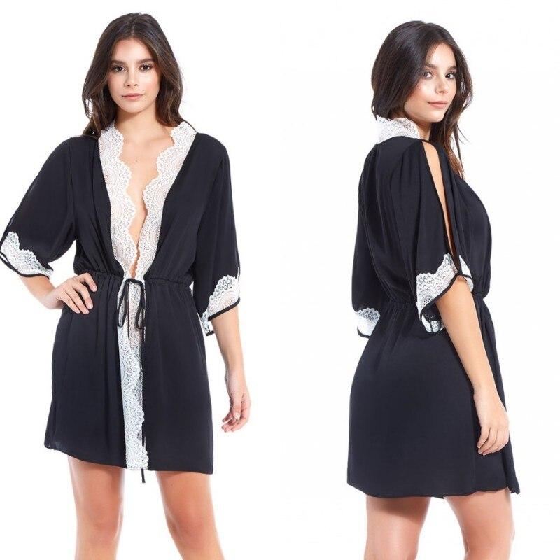 Comfortable Short Night Robe Women Sexy Black Lace Custom Made Sleepwear Nightgown Cotton Half Sleeve Robes