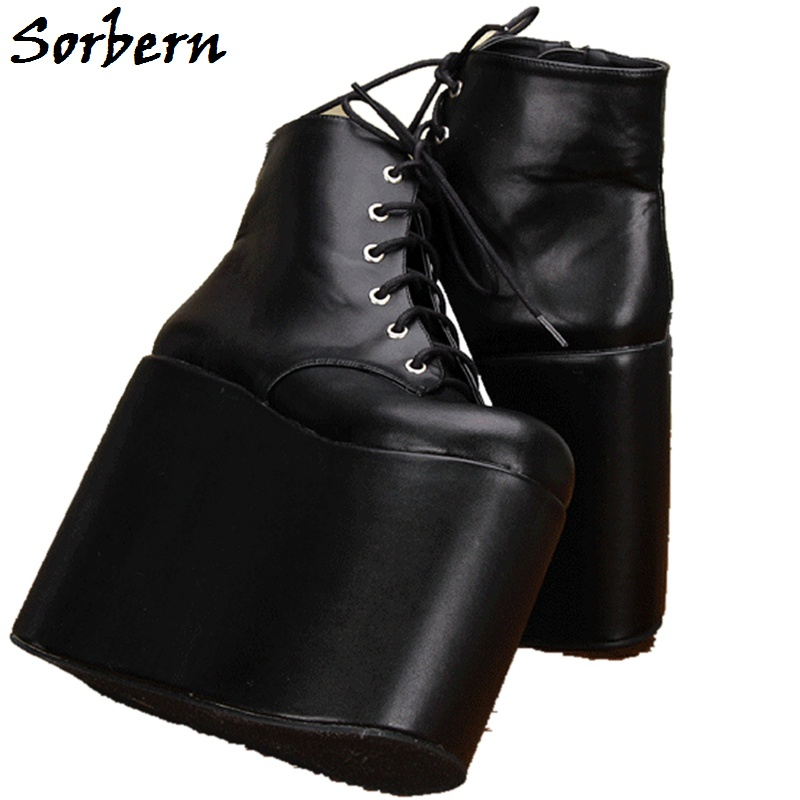 Sorbern Black Thigh High Ankle Boots Lace-Up Spring Women Shoes Round Toe Designer Brand Custom Color Platform Ladies Boots