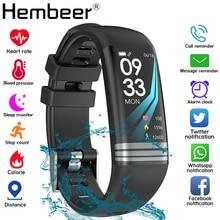 Цветной экран, умный Браслет для здоровья, измеритель артериального давления, мужские Т образные пульсометр, фитнес трекер, водонепроницаемые мужские часы + коробка