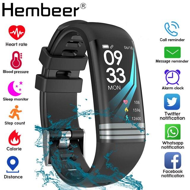 لون الشاشة الذكية الفرقة سوار صحي قياس ضغط الدم مراقب معدل ضربات القلب جهاز تعقب للياقة البدنية ساعة رجالي مضادة للماء + صندوق