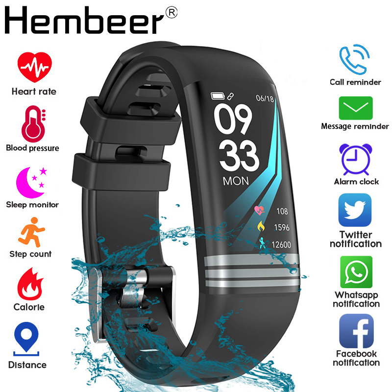 Color Screen Smart Band Health Bracelet Blood Pressure Measurement Heart Rate Monitor Fitness Tracker Waterproof Men's Watch+box-in Smart Wristbands from Consumer Electronics