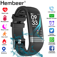 Kolorowy ekran inteligentna opaska opaska do monitorowania stanu zdrowia pomiar ciśnienia krwi tętno tracker do monitorowania aktywności fizycznej wodoodporny zegarek męski + pudełko