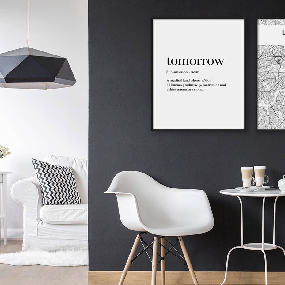 Word Definition Tomorrow Black White Canvas Paintings Nordic Poster Print Wall Art Pop Pictures Kids Room Home Office Decor