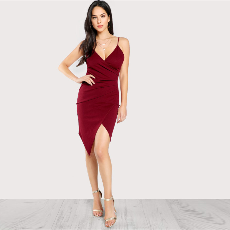 COLROVIE Ruched Overlap Form Fitting Cami Dress 2017 Burgundy Spaghetti Strap Sleeveless Slip Asymmetrical Party Dress With Zip 8