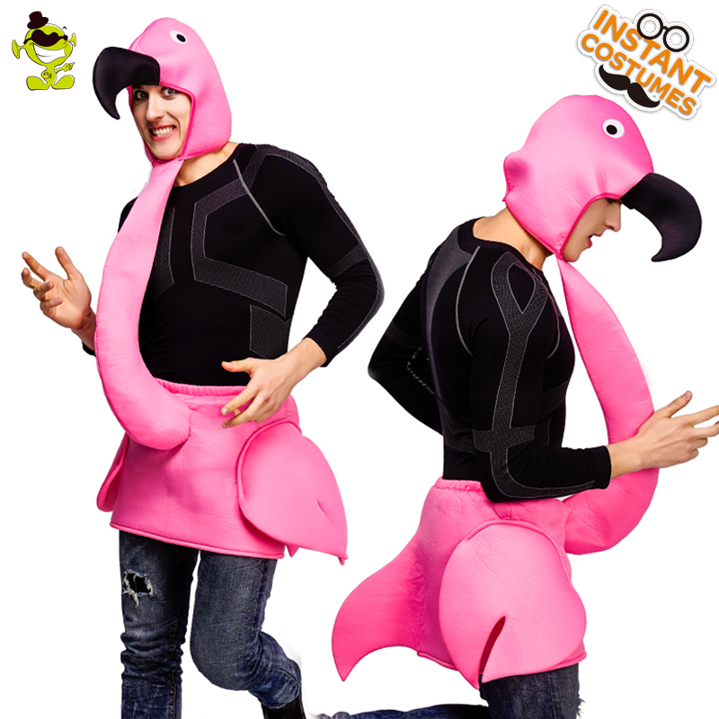 QLQ  New Arrival Men's Flamingo Costume Performance Carnival Party Cosplay Funny Flamingo Jumpsuit for Halloween Parties