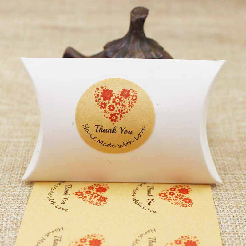100pcs Thank You Heart Flower Design Sealing Sticker Baking Package Cookies Cake Box Decorative Handmade With Love Seal Labels
